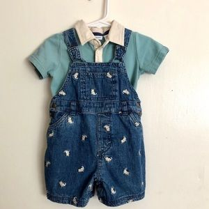 GREENDOG Baby Denim Dog Shortalls and Polo Shirt
